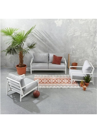 Zenio Zenio Paris Bahçe Oturma Grubu Beyaz 2+1+1 Renkli